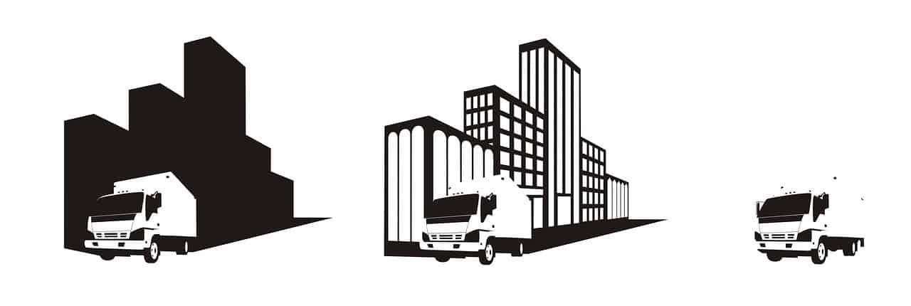 משאית ובניינים שחור לבן